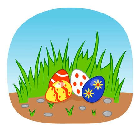 religious celebration: Easter eggs in grass