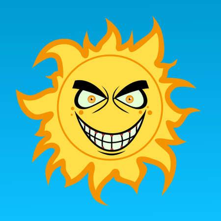 angry sky: Crazy cartoon sun Illustration