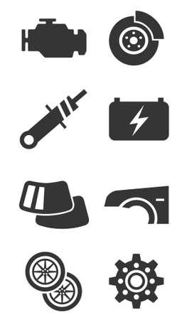 electrics: Auto parts icon set part one Illustration