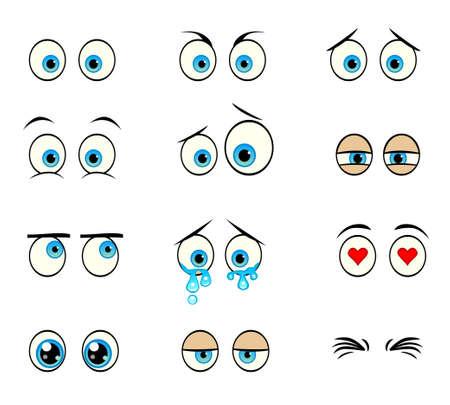 tired eyes: Cartoon eyes set Illustration