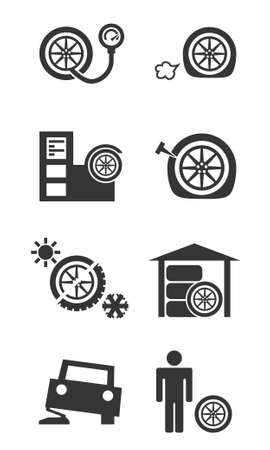 tire fitting: Tire fitting shop icon set