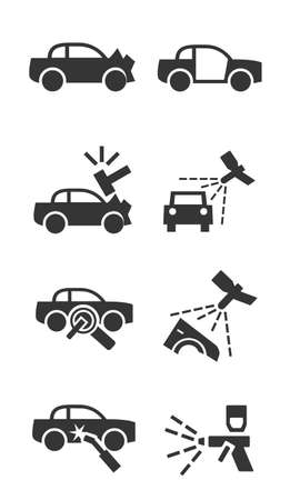weld: Car body shop icon set Illustration