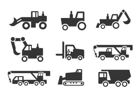 construction icon: Construction vehicles icon set