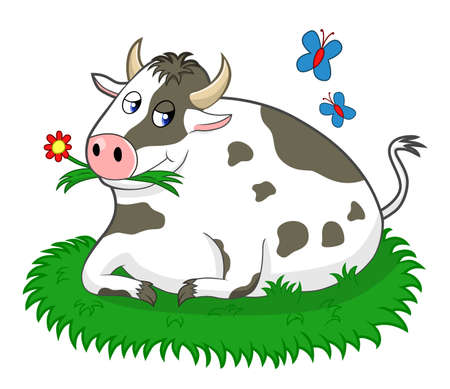 pleased: Cow in the meadow