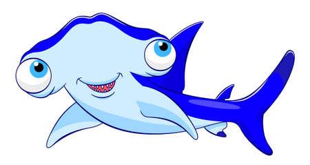 hammerhead shark: Cartoon hammerhead shark Illustration