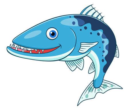 cute cartoon: Cartoon cute barracuda Illustration