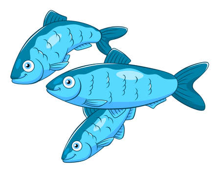 Cartoon tre aringhe Vettoriali
