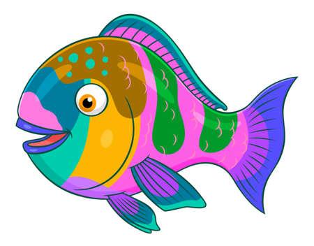 parrotfish: Cartoon cute parrotfish