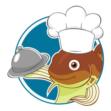 Cartoon cod chef in a circle Stock Illustratie