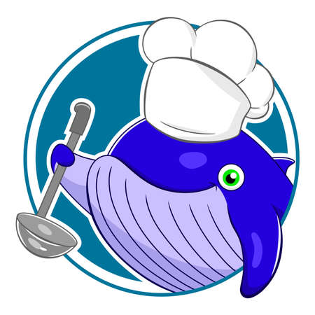 cetacea: Cartoon whale chef in a circle Illustration