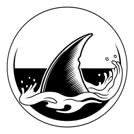 aleta de tiburón blanco y negro en un círculo Ilustración de vector