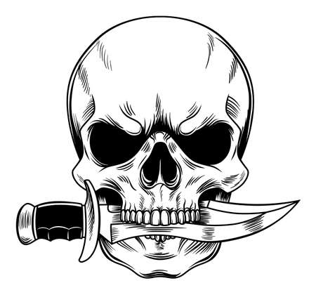 Creepy tattoo skull with a knife