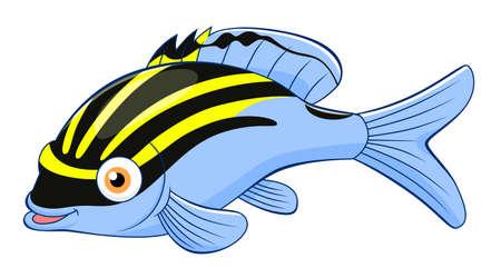 Cartoon cute monocle bream Illustration