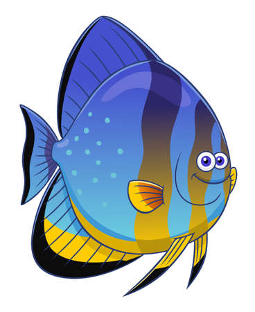 cute cartoon: Cartoon cute orbicular batfish Illustration