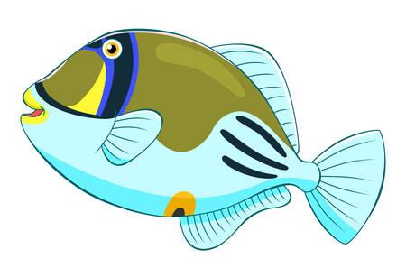 Cartoon cute picasso triggerfish Illustration
