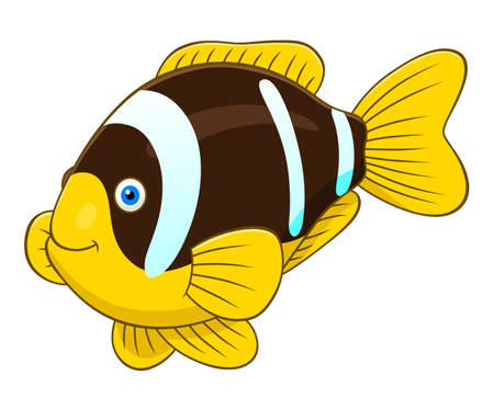 anemonefish: Cartoon cute two banded anemonefish