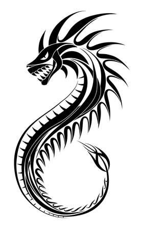 Tatuaggio ornamentale drago nero