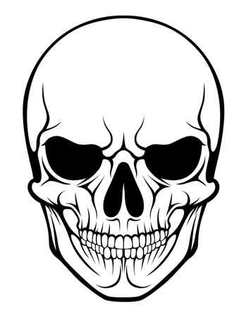 Espeluznante del tatuaje del cráneo humano estilizado