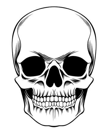 tatuaggio nero Creepy e nero cranio umano
