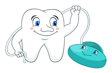 Cartoon tooth with dental floss Illustration
