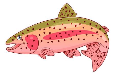 Cartoon cute rainbow trout