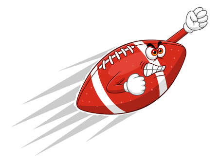 eager: Cartoon angry american football ball