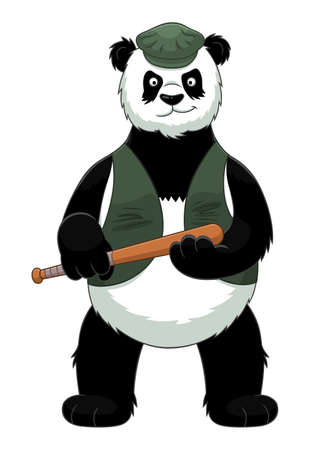 Cartoon bandit panda with baseball bat