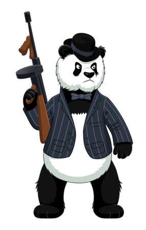 Cartoon Panda Mafiosi con fucile mitragliatore Vettoriali