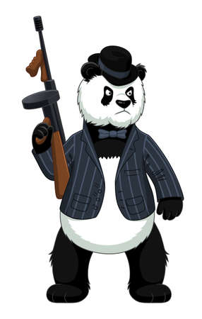 Cartoon-Panda-Mafiosi mit Maschinenpistole Vektorgrafik