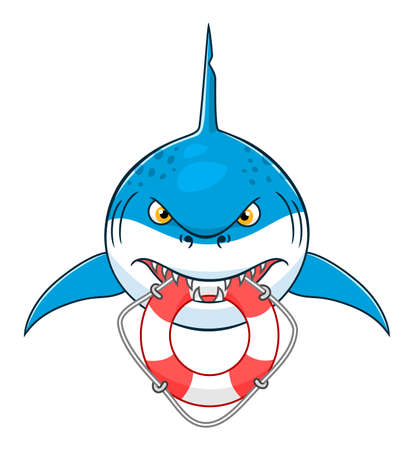 lifeline: Cartoon cute shark bit lifeline