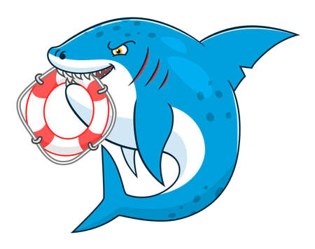 lifeline: Cartoon cute shark keeps lifeline