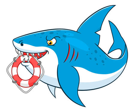 lifeline: Cartoon cute shark with lifeline