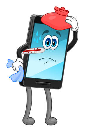 Cartoon mobile phone sick Ilustracja