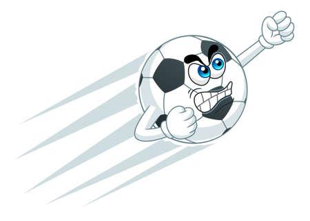 fury: Cartoon angry soccer ball Illustration