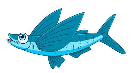 Cartoon poisson volant Vecteurs
