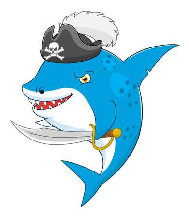Cartoon cute pirate shark Illustration