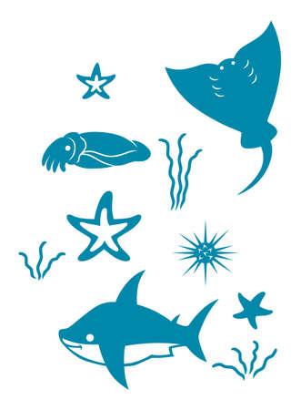 Set of ten blue icons for sea theme Illustration