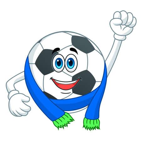 Cartoon cute soccer ball in scarf