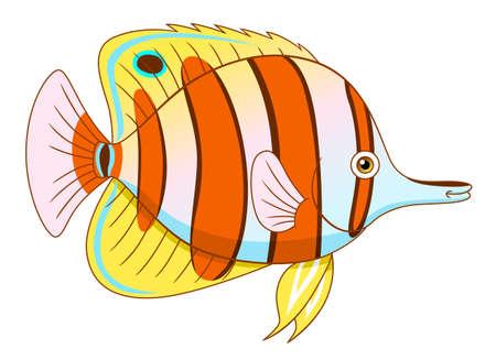 copperband butterflyfish: Cartoon cute copperband butterflyfish