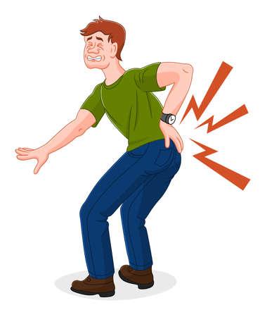 Cartoon man met rugpijn