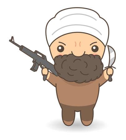 Cartoon terrorist Illustration