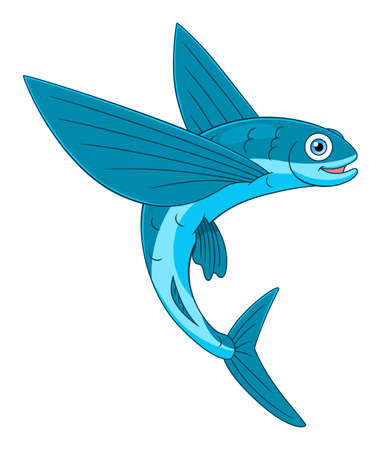 Cartoon cheerful flying fish