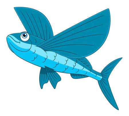 Cartoon happy flying fish