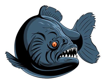 Scary piranha Illustration
