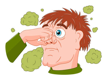 Cartoon man feeling bad smell Çizim