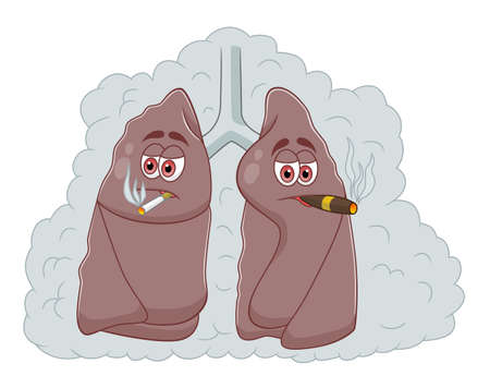 Cartoon smokers lungs isolated on white background Illustration