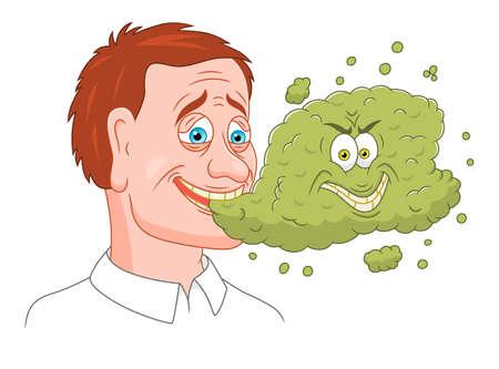 Man met slechte adem Stock Illustratie