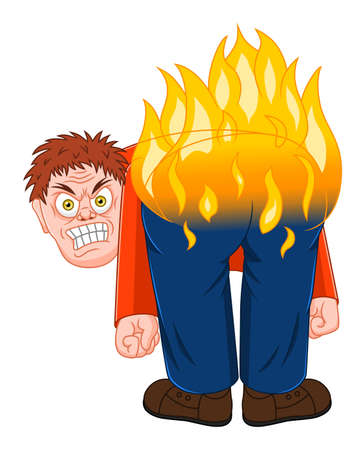 Anger man with burning butt