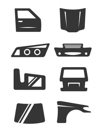 Set of eight gray icons for car body parts Illustration