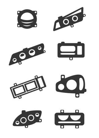 Set of eight gray icons for headlight theme Çizim